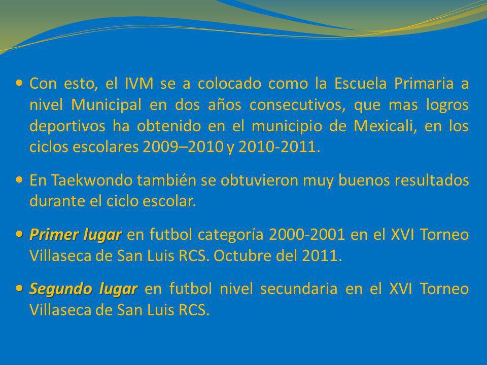 Con esto, el IVM se a colocado como la Escuela Primaria a nivel Municipal en dos años consecutivos, que mas logros deportivos ha obtenido en el municipio de Mexicali, en los ciclos escolares 2009–2010 y 2010-2011.