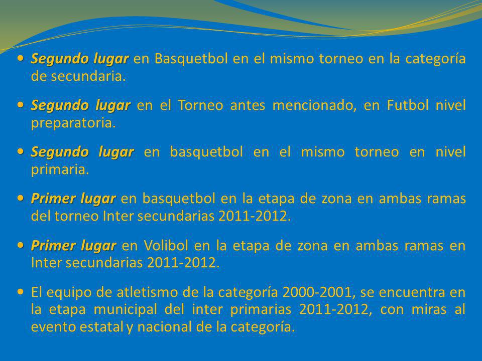 Segundo lugar en Basquetbol en el mismo torneo en la categoría de secundaria.
