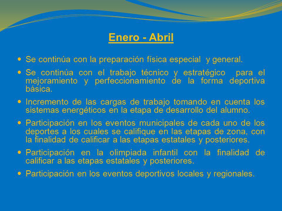 Enero - Abril Se continúa con la preparación física especial y general.