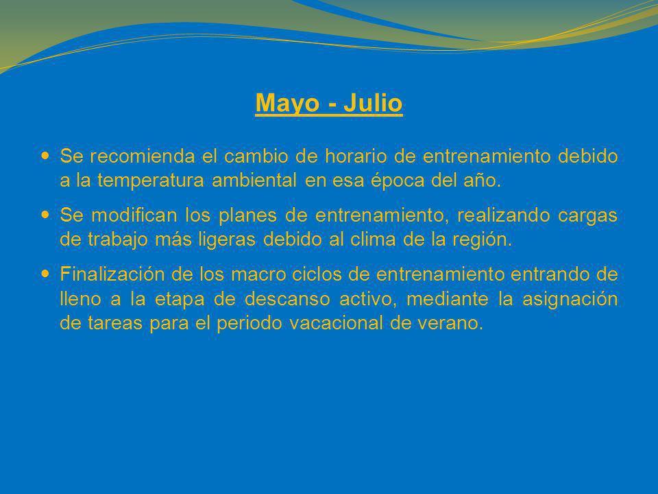 Mayo - Julio Se recomienda el cambio de horario de entrenamiento debido a la temperatura ambiental en esa época del año.