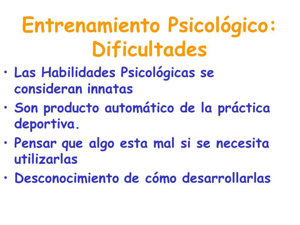 Entrenamiento Psicológico: Dificultades