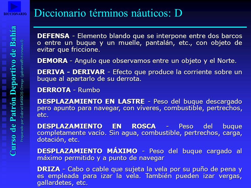 Diccionario términos náuticos: D