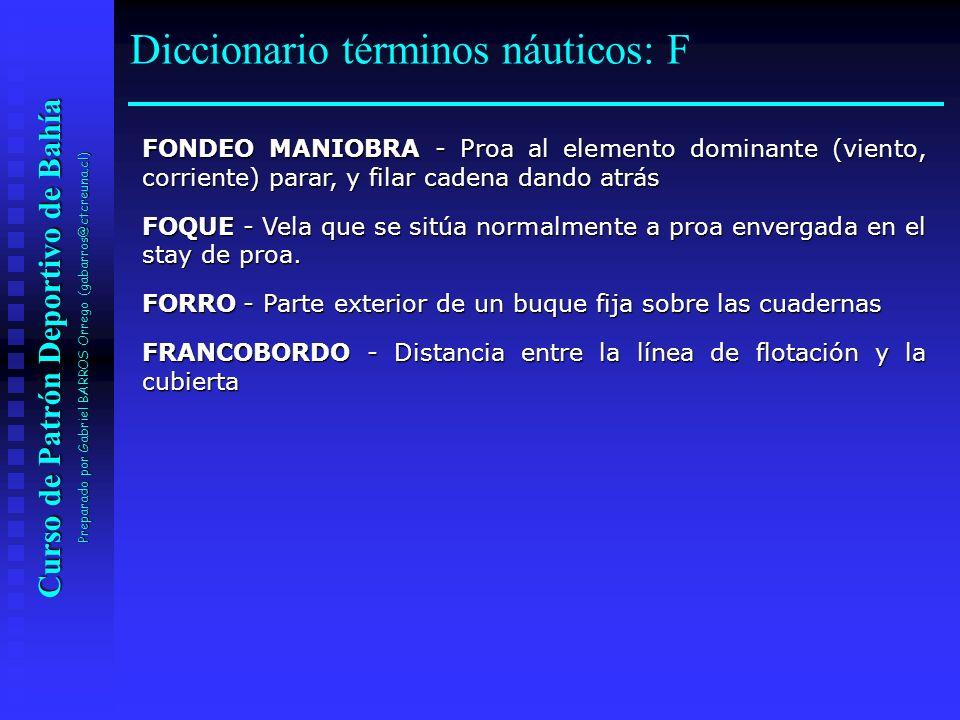Diccionario términos náuticos: F
