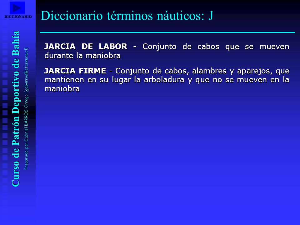 Diccionario términos náuticos: J
