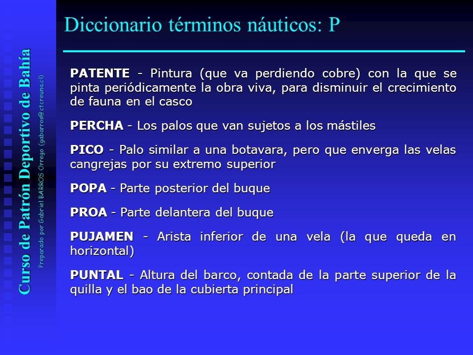 Diccionario términos náuticos: P