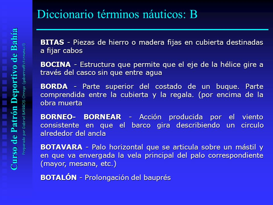 Diccionario términos náuticos: B