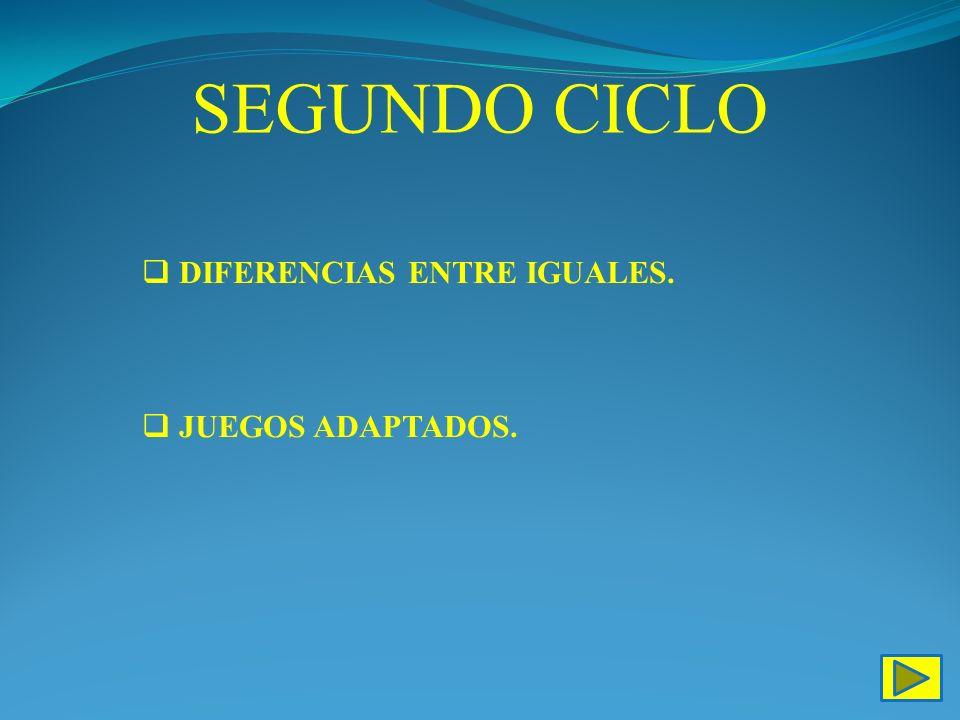 SEGUNDO CICLO DIFERENCIAS ENTRE IGUALES. JUEGOS ADAPTADOS.