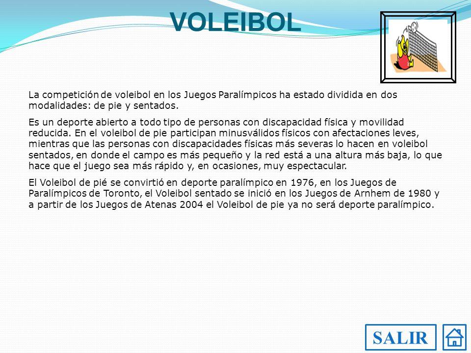 VOLEIBOL La competición de voleibol en los Juegos Paralímpicos ha estado dividida en dos modalidades: de pie y sentados.