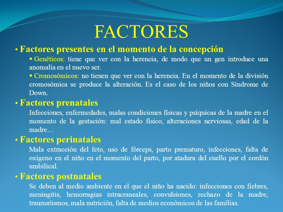 FACTORES Factores presentes en el momento de la concepción