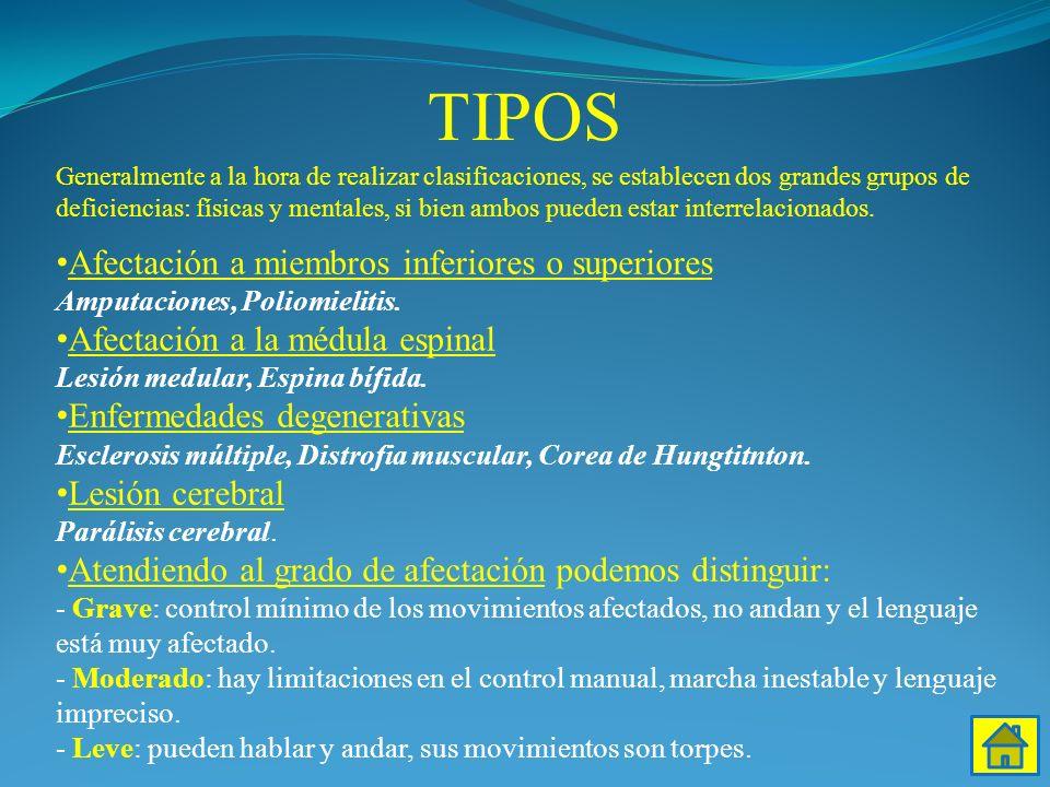TIPOS Afectación a miembros inferiores o superiores