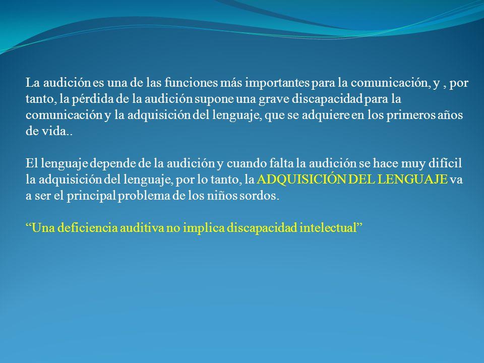 La audición es una de las funciones más importantes para la comunicación, y , por tanto, la pérdida de la audición supone una grave discapacidad para la comunicación y la adquisición del lenguaje, que se adquiere en los primeros años de vida..