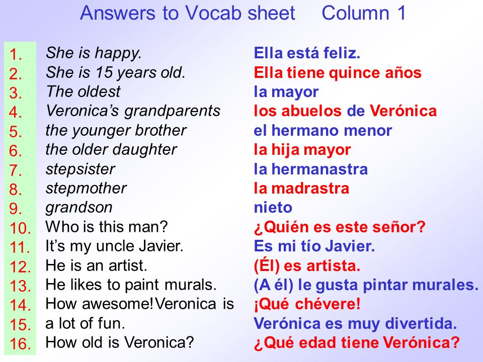Answers to Vocab sheet Column 1