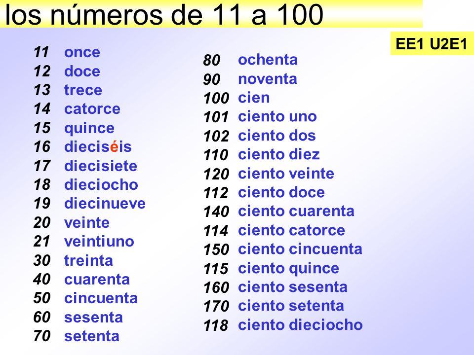 los números de 11 a 100 EE1 U2E1. 11. 12. 13. 14. 15. 16. 17. 18. 19. 20. 21. 30. 40. 50.