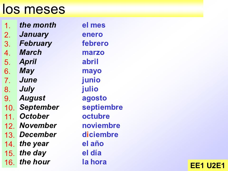 los meses 1. 2. 3. 4. 5. 6. 7. 8. 9. 10. 11. 12. 13. 14. 15. 16. the month. January.