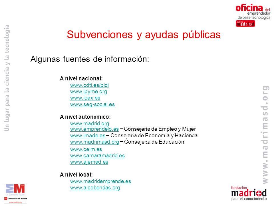 Subvenciones y ayudas públicas