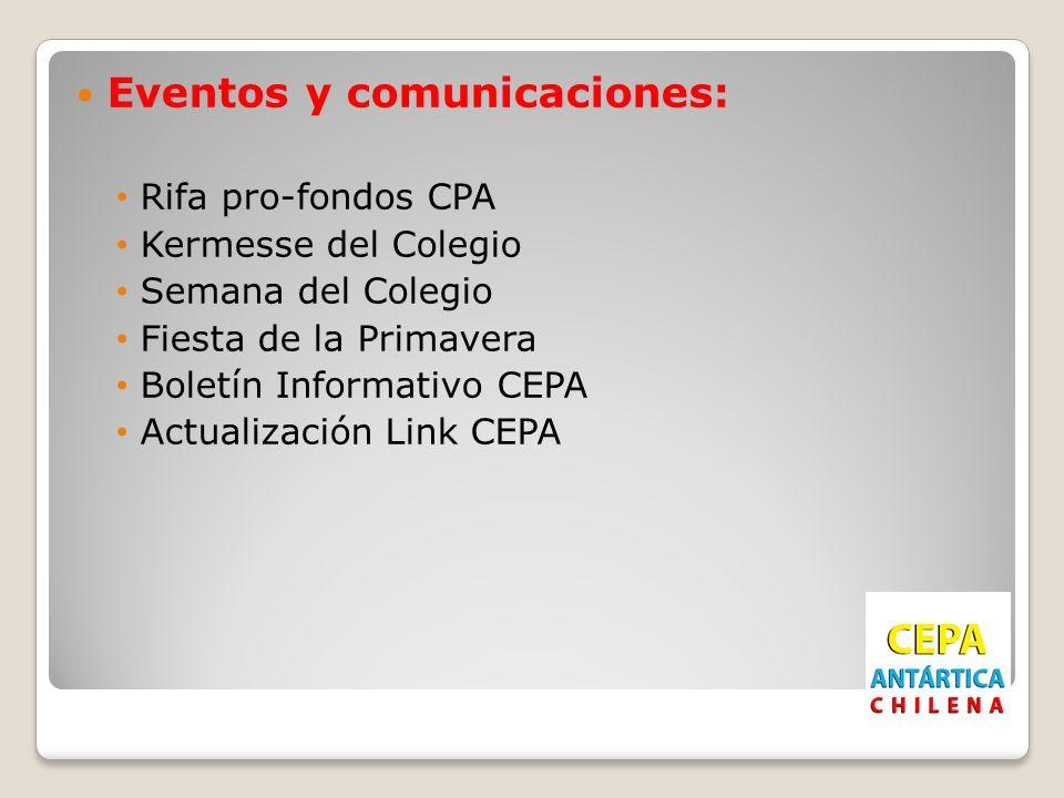 Eventos y comunicaciones: