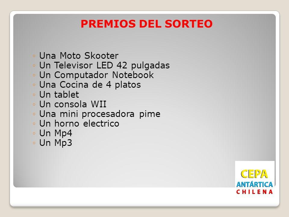 PREMIOS DEL SORTEO Una Moto Skooter Un Televisor LED 42 pulgadas