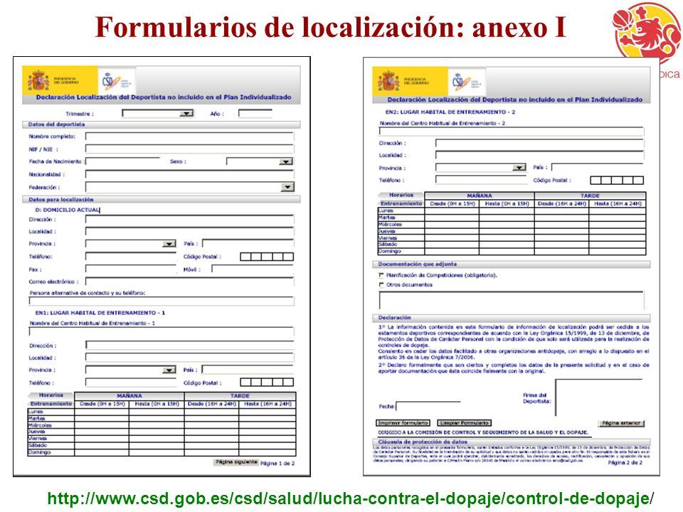 Formularios de localización: anexo I