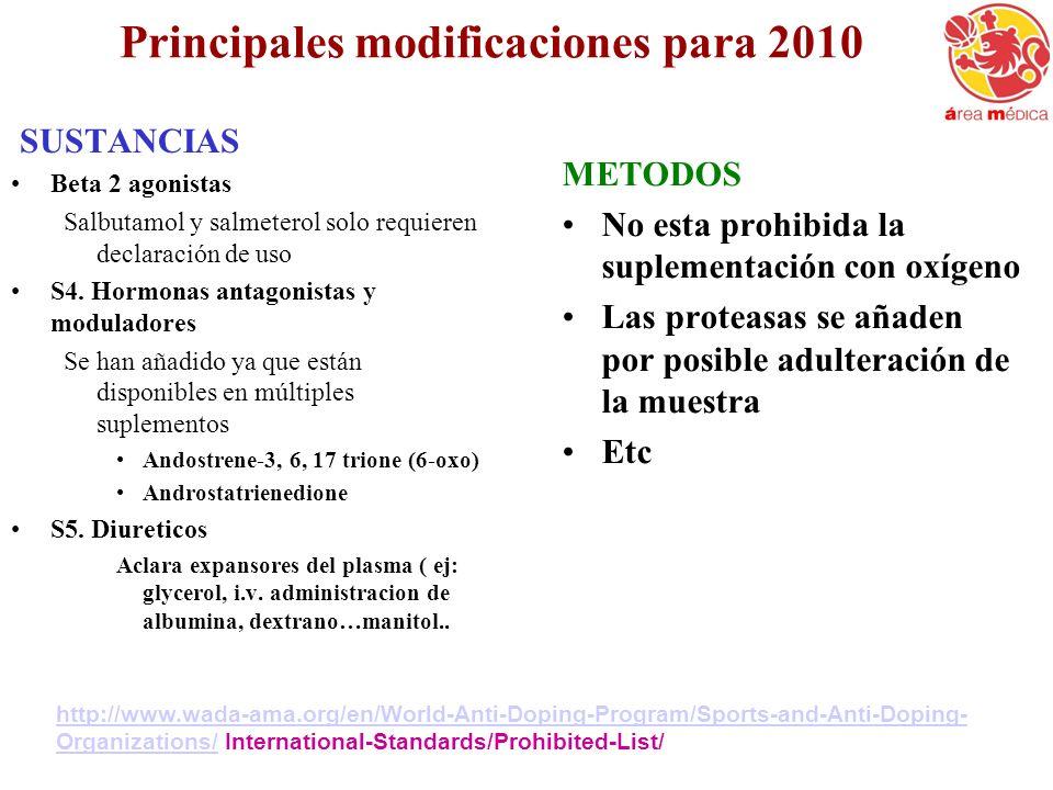 Principales modificaciones para 2010