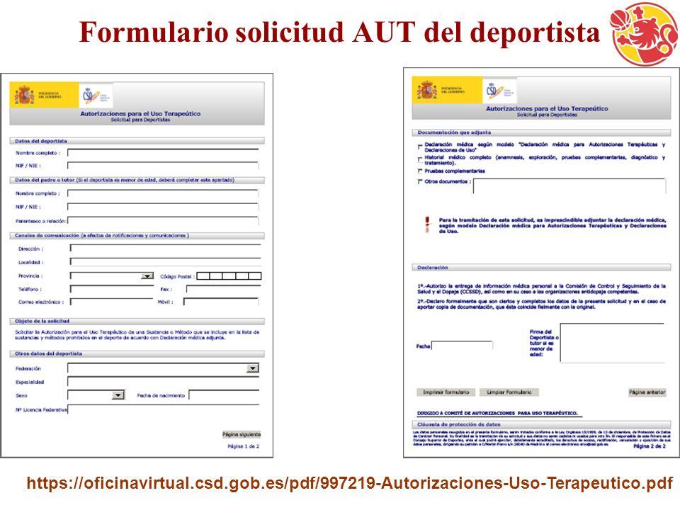 Formulario solicitud AUT del deportista