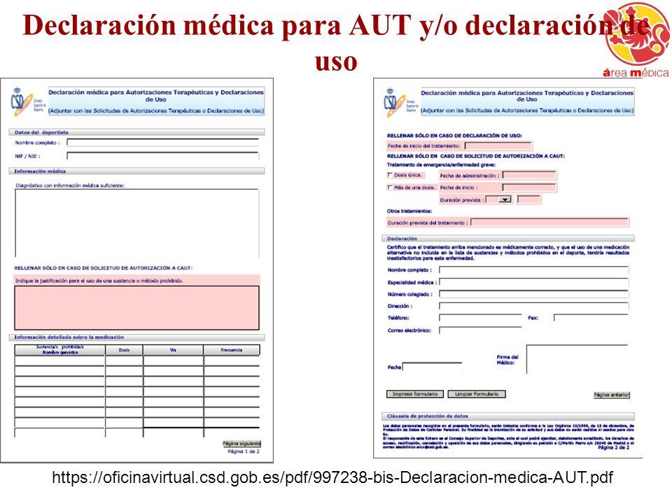Declaración médica para AUT y/o declaración de uso