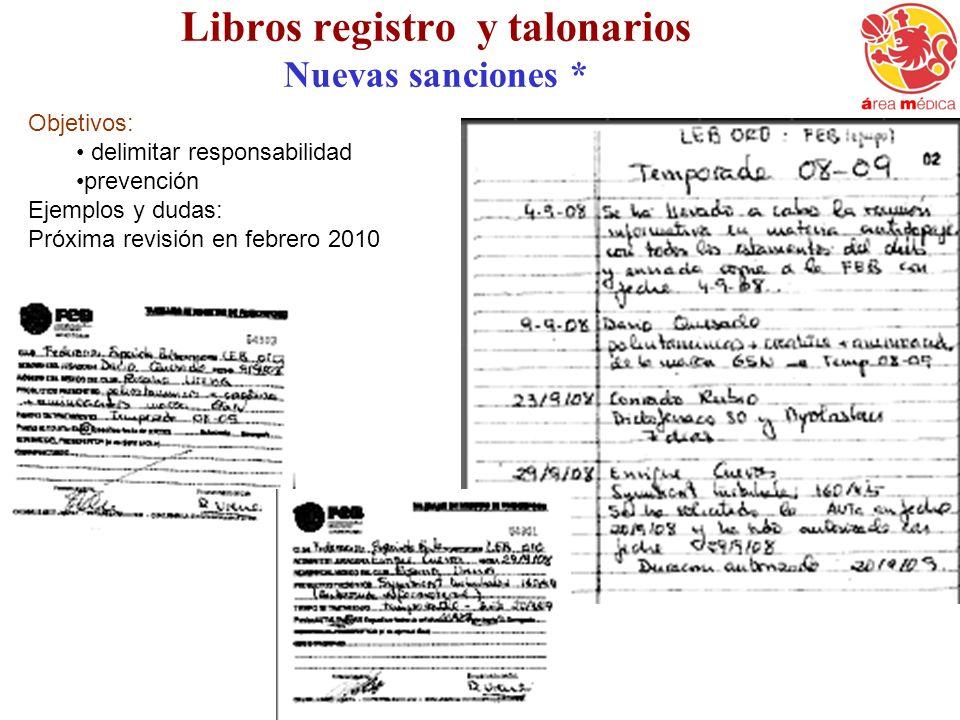 Libros registro y talonarios Nuevas sanciones *