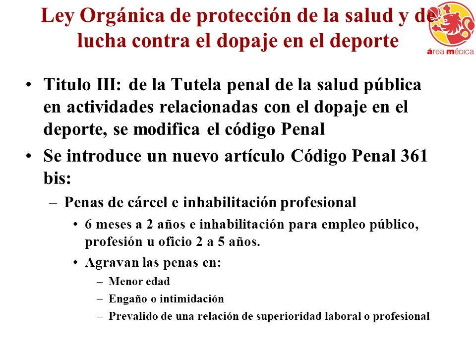 Ley Orgánica de protección de la salud y de lucha contra el dopaje en el deporte
