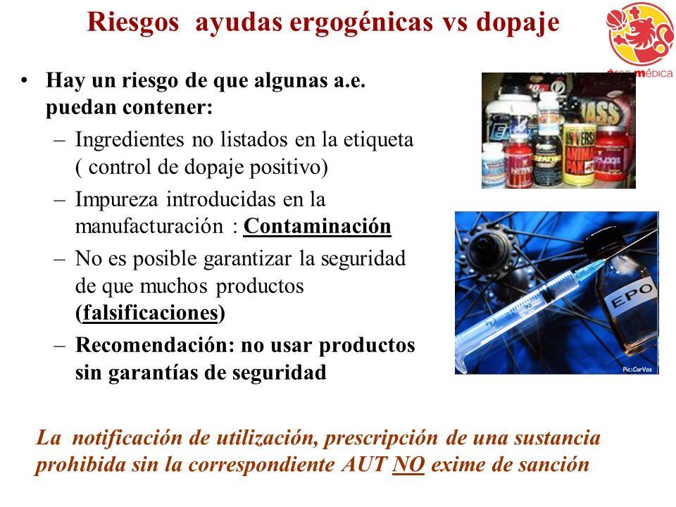 Riesgos ayudas ergogénicas vs dopaje