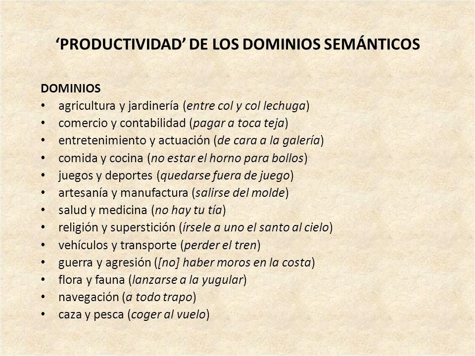 'PRODUCTIVIDAD' DE LOS DOMINIOS SEMÁNTICOS