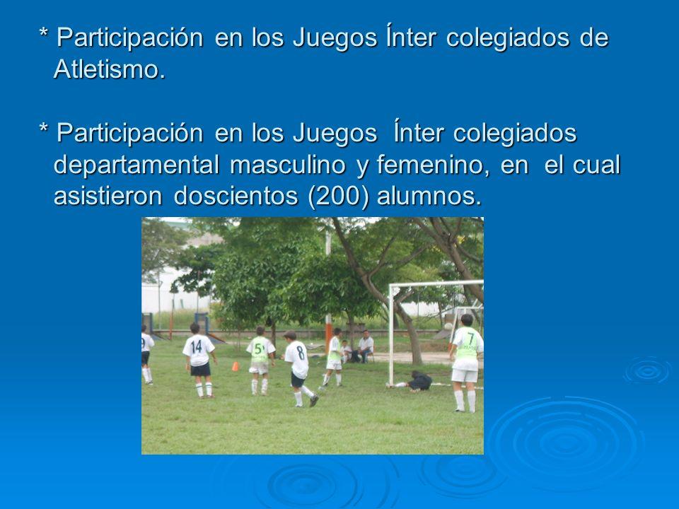 Participación en los Juegos Ínter colegiados de Atletismo