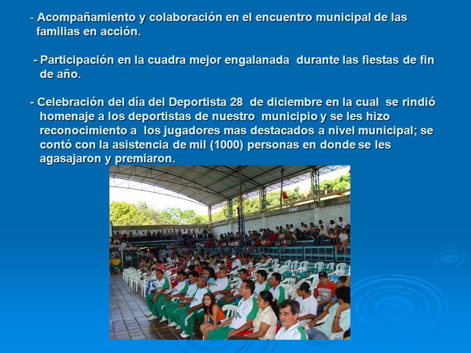 Acompañamiento y colaboración en el encuentro municipal de las familias en acción.