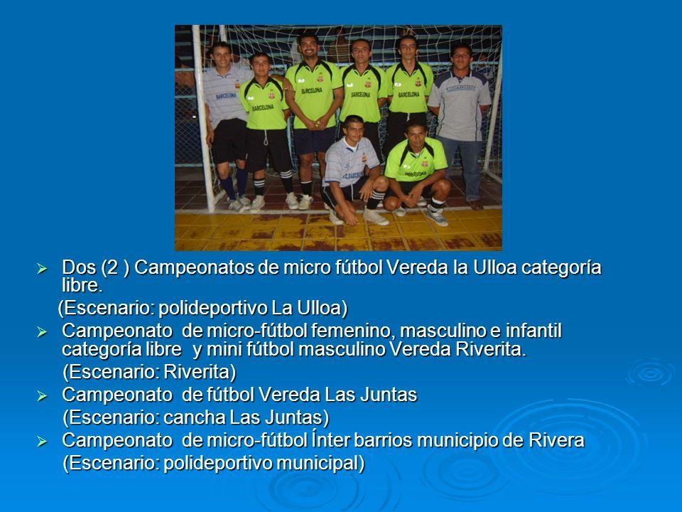 Dos (2 ) Campeonatos de micro fútbol Vereda la Ulloa categoría libre.