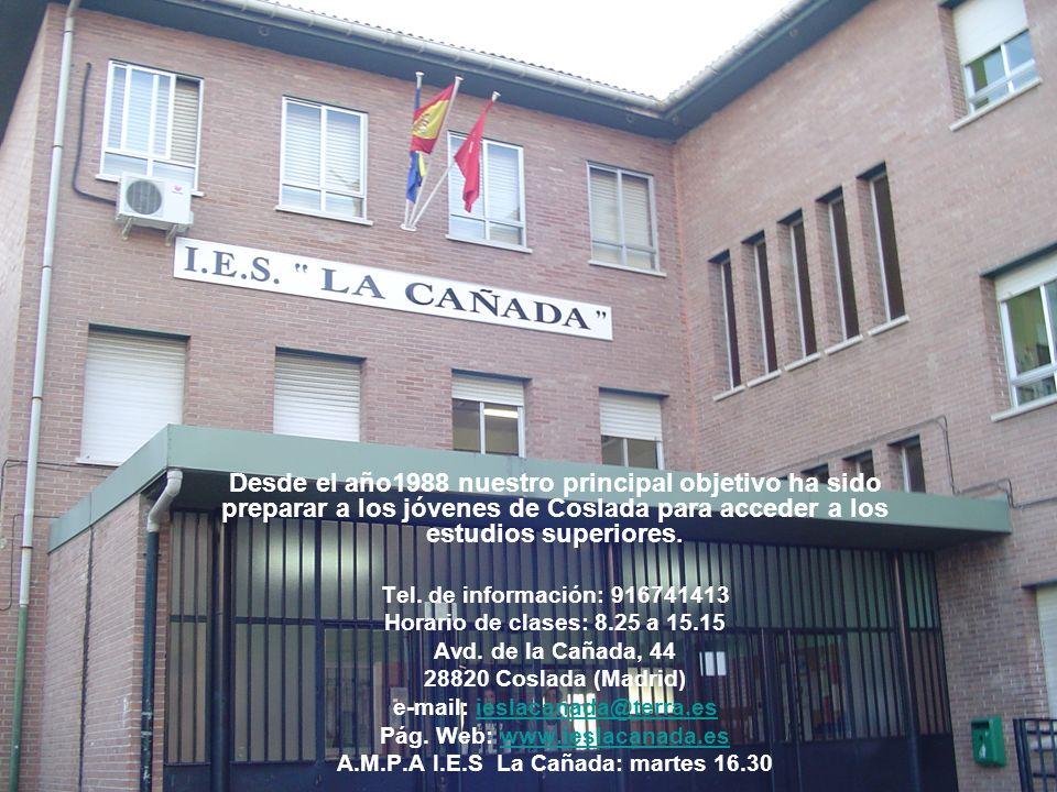 e-mail: ieslacanada@terra.es A.M.P.A I.E.S La Cañada: martes 16.30