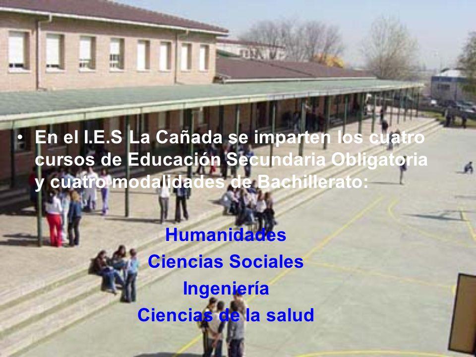 En el I.E.S La Cañada se imparten los cuatro cursos de Educación Secundaria Obligatoria y cuatro modalidades de Bachillerato: