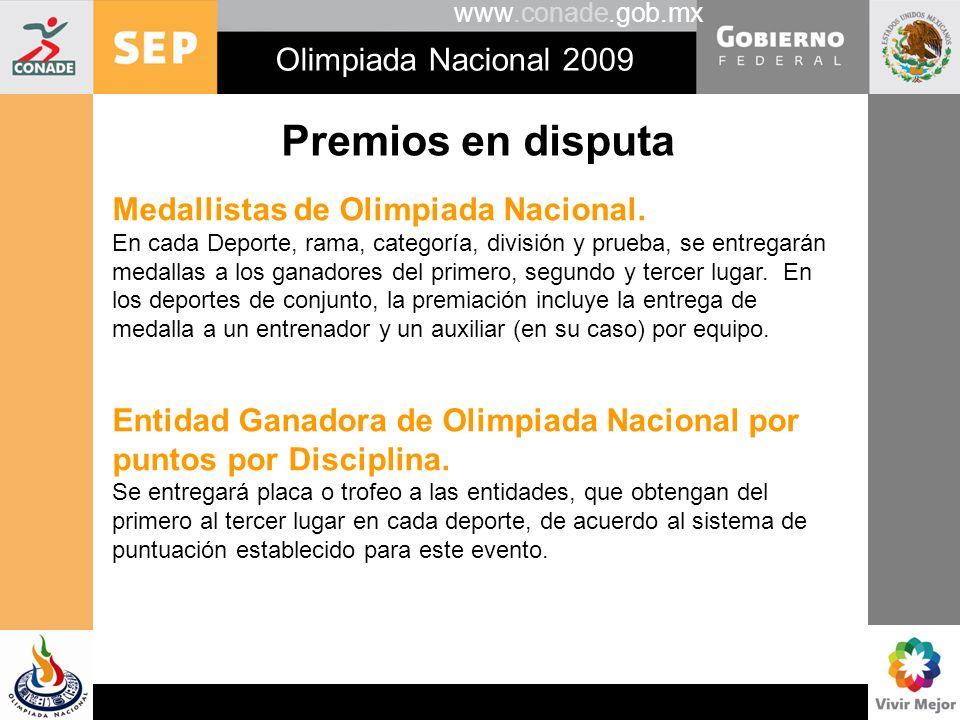 Premios en disputa Olimpiada Nacional 2009