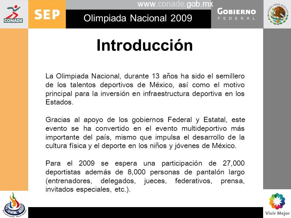 Introducción Olimpiada Nacional 2009 www.conade.gob.mx
