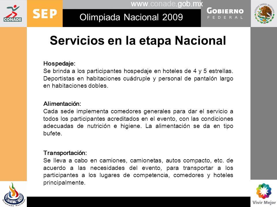 Servicios en la etapa Nacional
