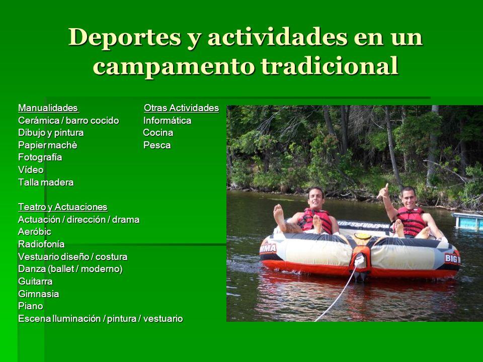 Deportes y actividades en un campamento tradicional