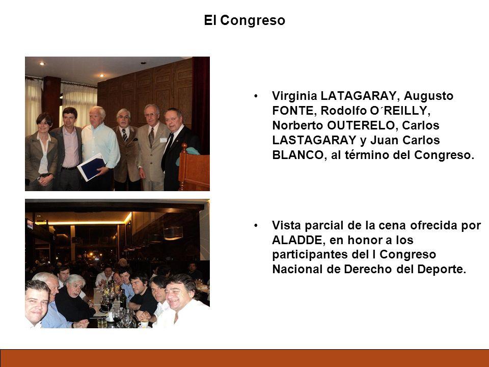 El Congreso Virginia LATAGARAY, Augusto FONTE, Rodolfo O´REILLY, Norberto OUTERELO, Carlos LASTAGARAY y Juan Carlos BLANCO, al término del Congreso.