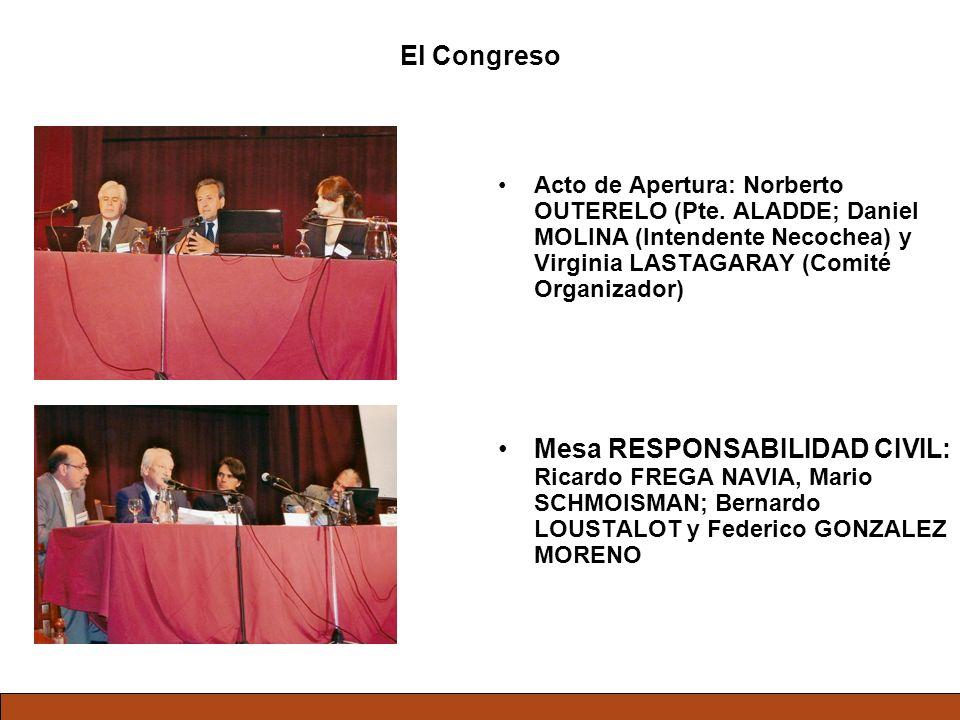 El Congreso Acto de Apertura: Norberto OUTERELO (Pte. ALADDE; Daniel MOLINA (Intendente Necochea) y Virginia LASTAGARAY (Comité Organizador)