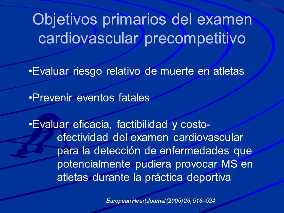 Objetivos primarios del examen cardiovascular precompetitivo