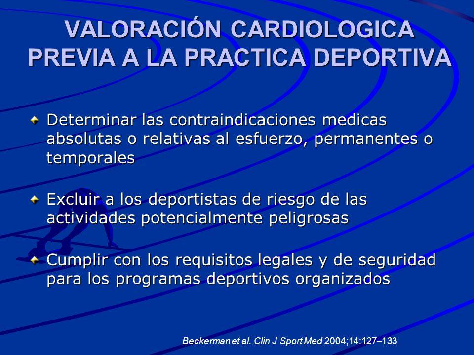 VALORACIÓN CARDIOLOGICA PREVIA A LA PRACTICA DEPORTIVA