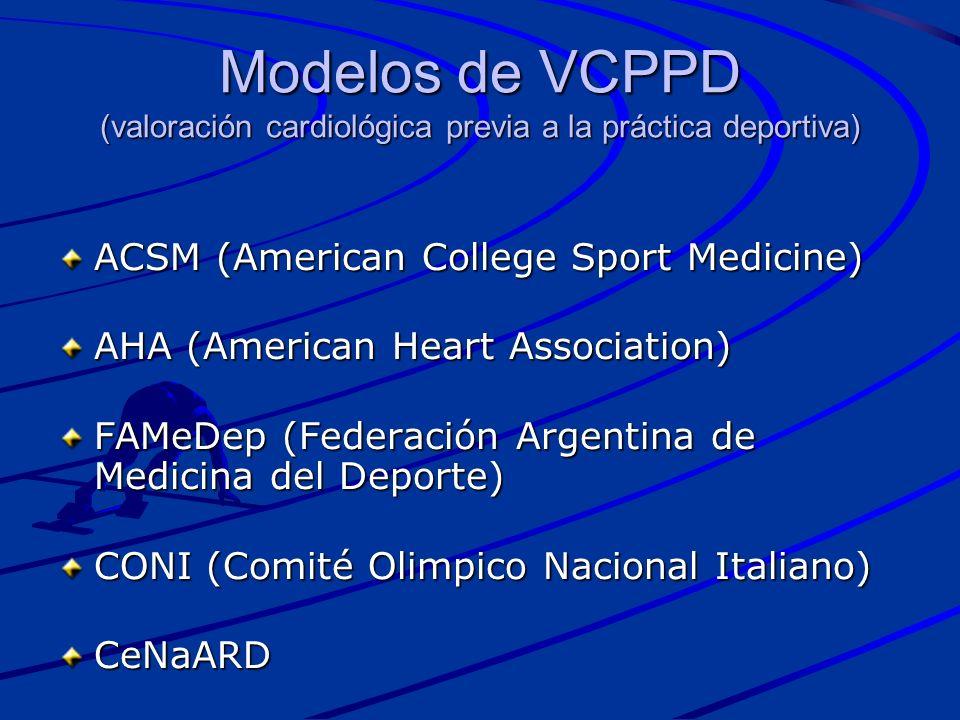 Modelos de VCPPD (valoración cardiológica previa a la práctica deportiva)