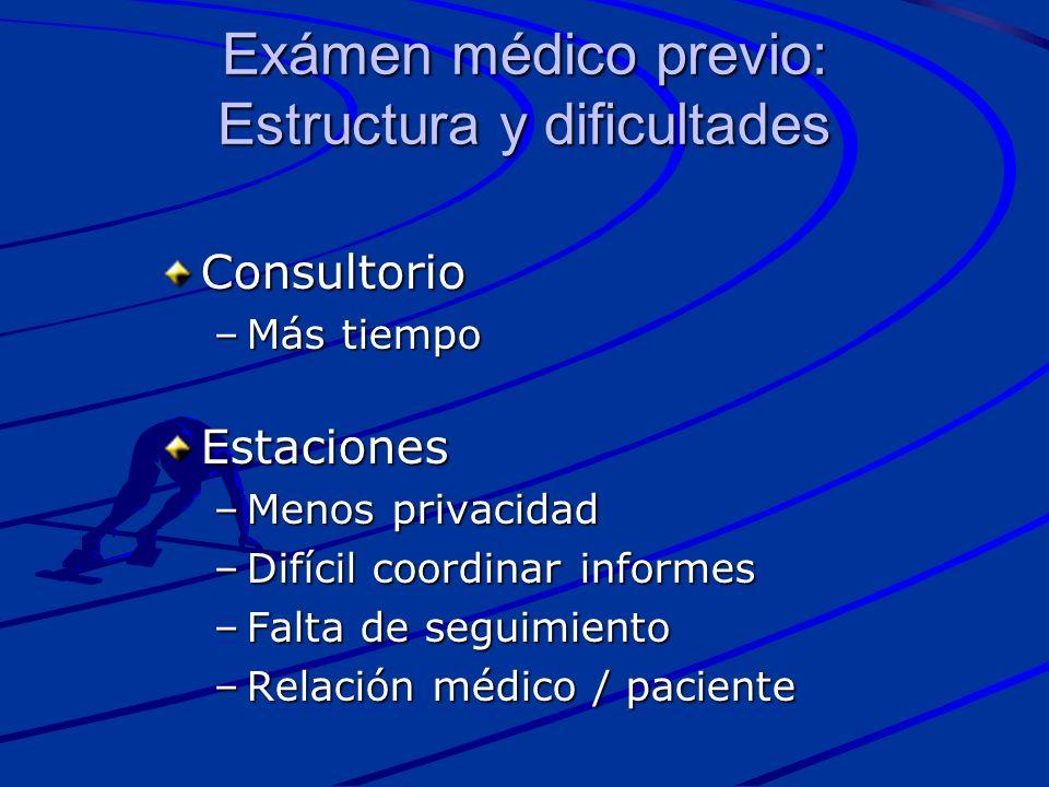 Exámen médico previo: Estructura y dificultades