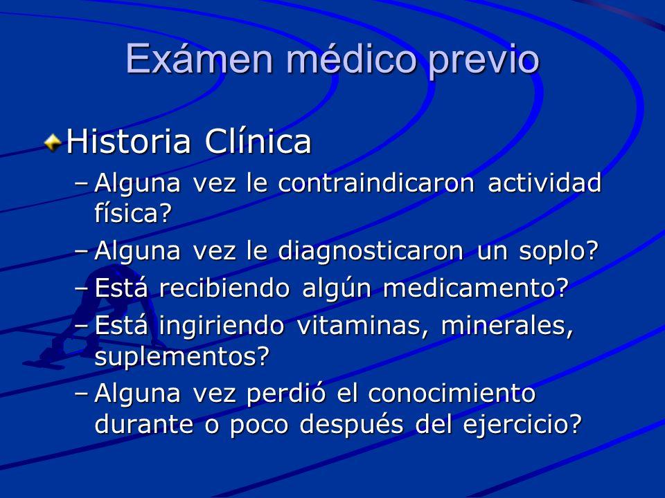 Exámen médico previo Historia Clínica