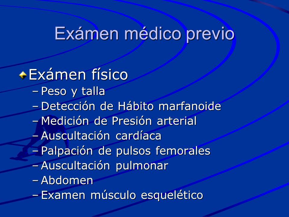 Exámen médico previo Exámen físico Peso y talla