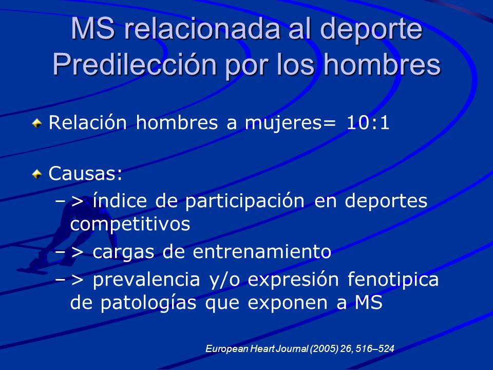 MS relacionada al deporte Predilección por los hombres