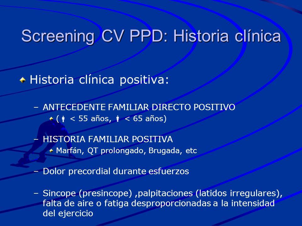 Screening CV PPD: Historia clínica