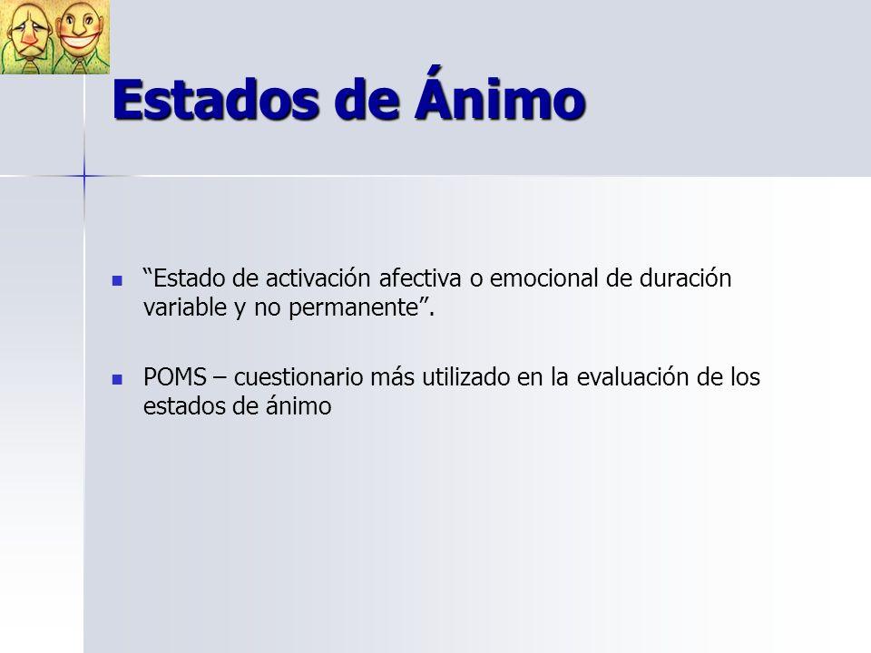 Estados de Ánimo Estado de activación afectiva o emocional de duración variable y no permanente .