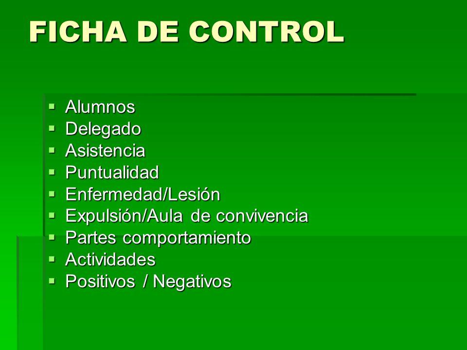 FICHA DE CONTROL Alumnos Delegado Asistencia Puntualidad
